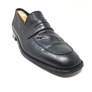 Bally Loafers Dress Shoes Size 9.5 Black Crocodile